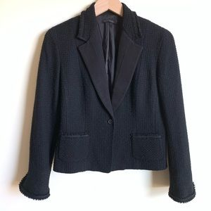 Elie Tahari Blazer Wool Tweed Career Black Size 12